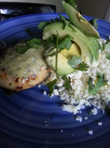 "I served it with cilantro lime cauliflower ""rice"" and an avocado.  PLUS, the reserved portion of the marinade as sauce."