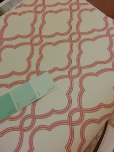If I go with my original pick for wall color, I could do a big coral print for the accent wall...