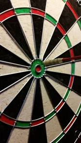 I managed to do this three times.  I'm good at darts after some drinks.