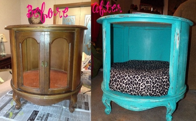 Gross old end table into super cute cat bed/end table!