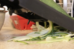 "Use the mandolin to make the ""zoodles"""