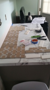 I prepare.  Laying out the first row of sheets on the counter to measure.