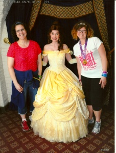 Claire begged and begged for pictures with princesses.  Only, replace Claire with me.
