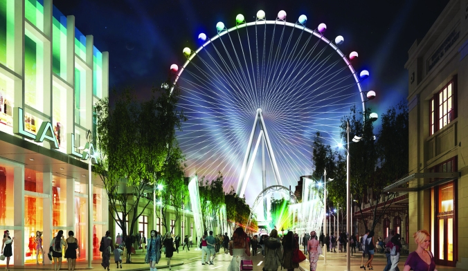 High Roller is behind the Flamingo/Harrah's area - with a great new shopping area on the walk to it.
