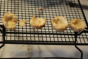 3 of 4 tiny tarts made it