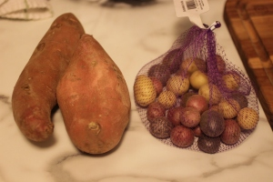 I had sweet potatoes or I had a bunch of mini potatoes.